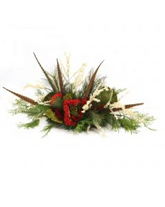 Cream Berries with Pine and Feathers
