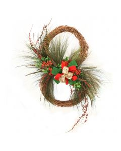 Double Wreath with Ribbon and Feathers