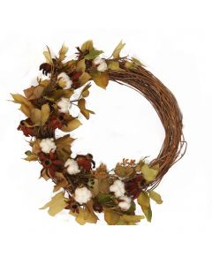 """22"""" Fall Wreath with Cotton and Flowers"""