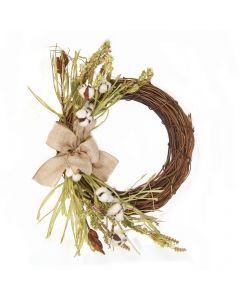 "25"" Cotton Wreath with Tan Burlap Ribbon"