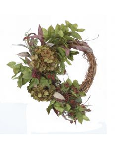 Fall Wreath with Hydrangeas and Mixed Berries