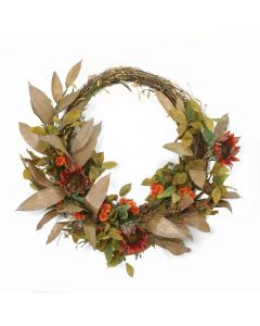 "25"" Wreath Rust Orange Hydrangeas with Foliage and Berries"
