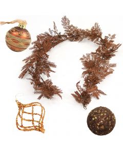 Designer Ornament Group featuring Bronze Gold and Glass Ornaments with Bronze Garland