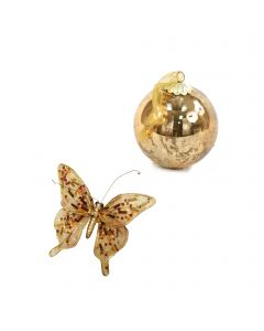 Designer Ornament Group featuring Mercury Gold Ornaments with Gold Butterflies