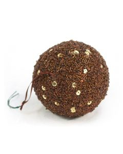 Designer Ornament Group featuring 100mm Sequined Bronze Ornaments
