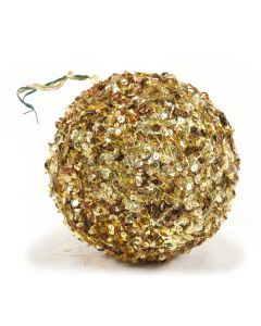 Designer Ornament Group Featuring 150mm Sequined Gold Ornaments