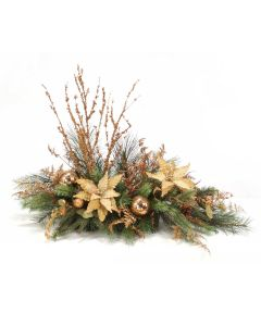 Gold Poinsettias with Pine and Ornaments