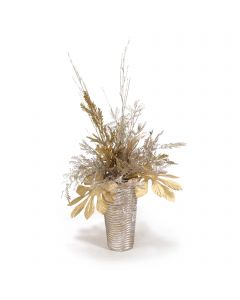 Mixed Metal Berries and Glittered Twigs in Ribbed Vase