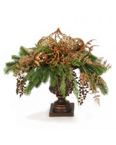 Green Pine with Bronze Ornaments and Gold Accents