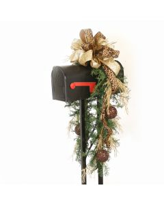 Mailbox Garland with Gold and Brown Ornaments and Leopard Ribbon