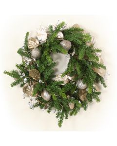 Pine Wreath with Gold Laurel and Gem Accents