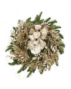 Pine Wreath with Champagne Accents