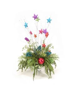 Bright and Colorful Arrangement with Ornaments and Drooping Pine