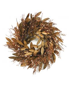 """24"""" Bronze Bay Leaf with Glittered Twigs"""