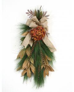 Rust Hydrangeas, Bronze Leaves, Pine Swag