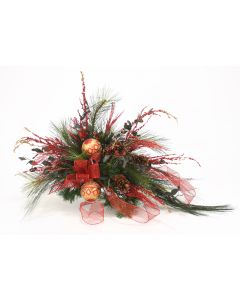 One Sided Christmas Floral in an antique Brown Large Lid