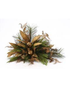 Christmas Arrangement with Pine, Lvs & Ornaments On Tile