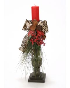 Christmas Candlestick with Pine, Natural Prod and Ribbon (Sold in Multiples of 2) Coordinates with Xa141