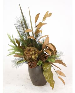 Harvest Floral with Hydrangea and Pine in A Crystal Bronze Plum Pot