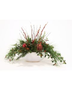 Holly Berry and Pine Mix in a white Oval Planter
