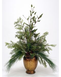 Mixed Foliages in Gold Vase