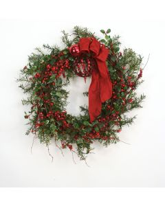 Nito Wreath with Rosemary,Holly, Berries & Ornaments