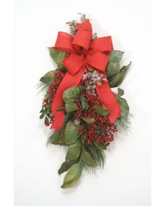 Magnolia Garland with Pine Spray, Berries and Red Ribbon