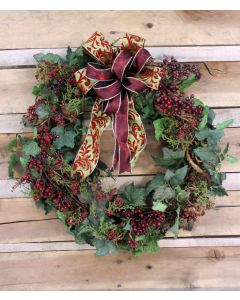 "27"" Ivy Wreath with Burgundy Berries with A Green and Burgundy Swirl Ribbon"