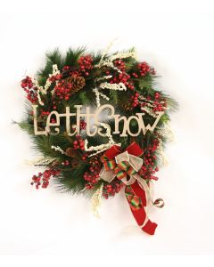 "Let It Snow 27"" Pine Fir Wreath with Red Berries, and Pine Cones"
