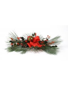 Snow-Dusted Pine, Red Rose Hips, Glass Ornament, Gold-Dotted Red Ribbon (Sold in Multiples of 2)