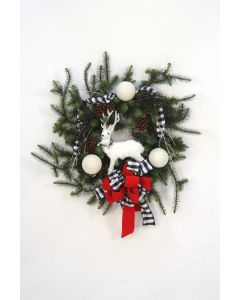 Christmas Wreath with Black and White Accents