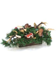 Bonsai Foliage with Durian Leaves with Deer Horns in Wooden Box