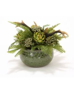 Fall Woodland Greens, Deer Horns and Artichokes in A Green Glazed Belly Planter