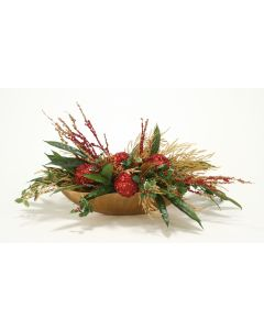 Holiday Red and Gold Centerpiece in A Low Oval Scalloped Gold Vase
