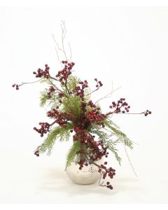 Holiday Berry and Greenery in Hand Hammered Nickle Vase