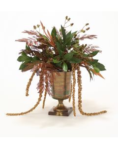 Copper Glittered Sprays Mixed with Greens and Hypericum Berries in A Medium Classic Urn