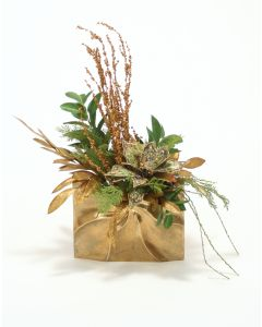 Green and Gold Sequined Poinsettia Branches in Gold Ritz Purse Vase