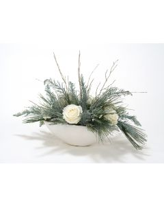 French Blue Glittered Leaf Spray with White Roses and Pine in A White Earthenware Planter
