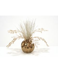 Champagne Gold Berries and Grasses in Burnt Gold Round Bowl