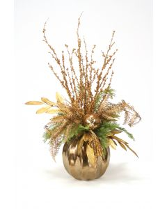 Golden Bronze Branches and Leaves in Bronze Round Vase