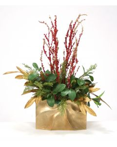 Red and Gold Branches and Leaves in Gold Metal Pocket Vase