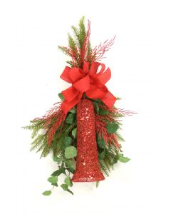 Red Glittered Bell with Fir and Elm Branches