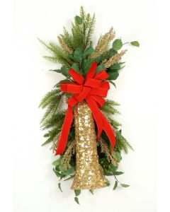 Gold Bell and Branches with Fir and Red Velvet Ribbon