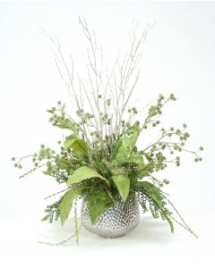 Silver and Green Glittered Branches with Foliage in Silver Ceramic Planter