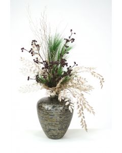 Silver and Brown Glittered Branches with Pine in Black/Silver Tortoise Vase