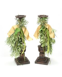 Pair of Aged Black Wooden Candlesticks with Holiday Trim Accents.