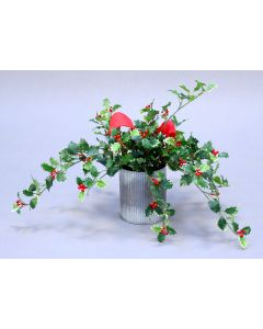Holly with Red Berries in Round Tin Container