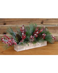 Snow Pine with Cones and Flocked Red Berries in A White Wooden Box