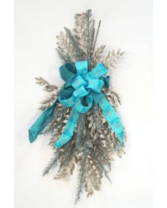 Champagne Leaf Spray with Blue Glitters Branches