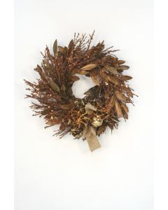Glittered Brown and Gold Bay Leaf Wreath with Glass Ornaments
